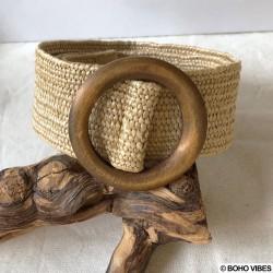 Ceinture paille boucle ronde